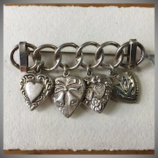 Vintage Sterling WWII Era Puffy Heart Charm Brooch