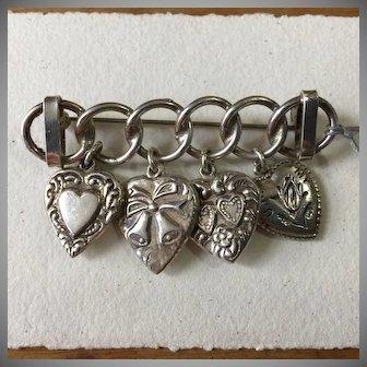Vintage Sterling WWII Era Puffy Heart Charm Brooch
