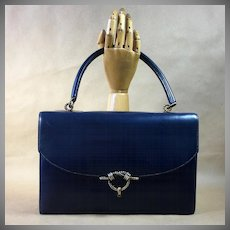 Hermes Authentic Vintage Midnight Blue Bag Handbag 1965