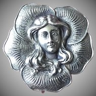 Watch Pin Sterling Silver Art Nouveau Flower Girl ca 1900