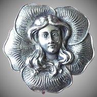 Watch Pin Sterling Silver Art Nouveau Flower Girl ca 1900