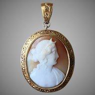 Edwardian Cameo of Goddess Diana Set in 18k Gold Brooch/Pendant