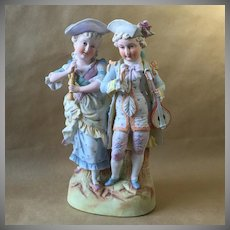 "Late 19th Cent. Bisque Figurine of Young Couple Hand Painted 13.5"" tall"
