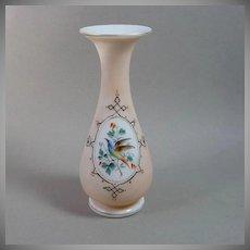 Hand Blown Bristol Glass Vase Bird and Flowers