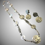 Rare Ancient Coin Necklace with Earrings by Les Bernard • Silver • ca.1960