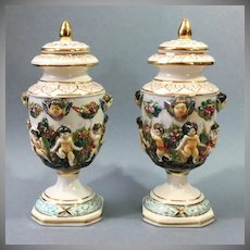 Pr. Diminutive Capo Di Monte Covered Urns 1950's