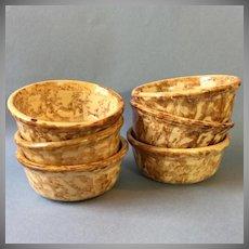 Set 6 Early Spongeware Yellowware Bowls