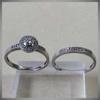 Sweet  10kt. White Gold Diamond Wedding Engagement Set sz 7