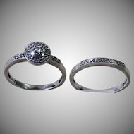 Sweet  10kt. White Gold Diamond Wedding Engagement Set sz 7