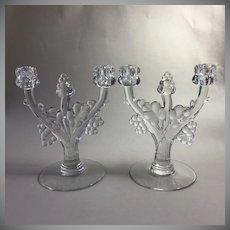 Pair Heisey Glass Candlesticks Grape Cluster