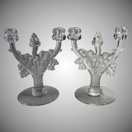 Pair Heisey Glass Candlesticks Grape Cluster