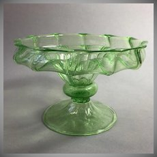 Green Venetian Blown Glass Compote Early 20th Cent.