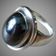 Georg Jensen Ring Denmark Sterling Silver Hematite ca 1970 sz 6.5