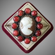 Shell Cameo and Coral Ring Sterling Silver Size 8