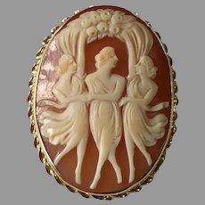 Shell Cameo Three Graces 14kt Gold
