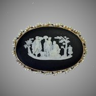 Wedgwood Black Jasperware Brooch 14kt Gold Seed Pearls