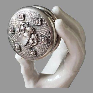 Silver Plate Round Pill Box 1915
