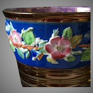 19th Century Copper Luster Tumbler Beaker Cup with Roses