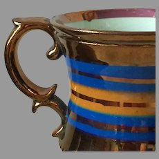19th Century Copper Luster Small Cup with Blue Banding
