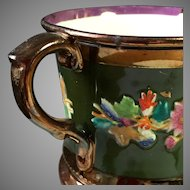 Victorian Copper Luster Mug Deep Green Band with Flowers