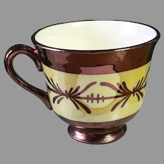 1930s Copper Luster Espresso Demitasse Cup with Canary Yellow Band