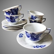 Royal Copenhagen Demitasse Cups and Saucers Blue White Delft set 5