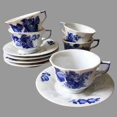 Royal Copenhagen Demitasse Cups and Saucers Blue White Delft set 5