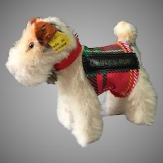 Ginny Doll's Fox Terrier Dog Sparky by Steiff with Tag and Button
