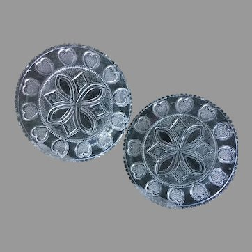 Pair Early Lacy American Pressed Flint Glass Cup Plates Quilted Heart Pattern EAPG