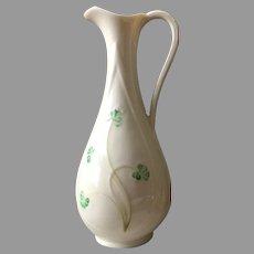 Vintage Belleek Shamrock Bud Vase Pitcher