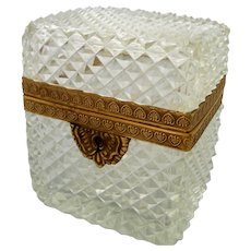 Vintage French Jewelry Casket Diamond Point Cut Crystal Tea Box Caddy