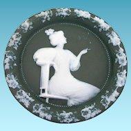 Vintage Jasperware Plaque Sage Green White Germany Victorian Woman Smoking