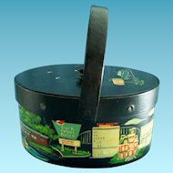 Vintage Sewing Basket Box Purse Hand Painted Wood