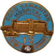 Vintage Nursing Employee Award Pin Good Samaritan Hospital 10 Yr Diamond Enamel