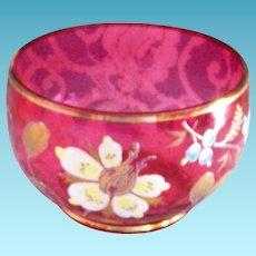 Vintage Cranberry Glass Bowl Hand Painted Enamel Flowers & Gold Trim