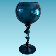 Mid Century Modern Teal Blue Balloon Goblet