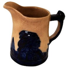 Sleepy Eye Chief Pottery Pitcher Native American Indian Chief Teepees Stoneware Pitcher Indian Head Handle