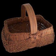 Vintage Buttocks Basket Bentwood Handle Child's Egg Basket