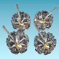 Tiffany Sterling Salt Spoons Gold Washed and Crystal Salt Cellars Set of 4