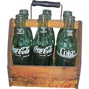 Early Vintage Wooden Coca Cola Six Pack Bottle Carrier Wood Coke Caddy War Wings
