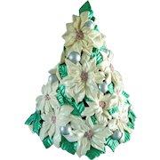 Vintage  Atlantic Mold Ceramic Poinsettia Tree 15 Inch