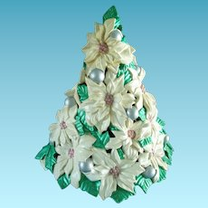 Vintage  Atlantic Mold Ceramic Poinsettia Tree 15 Inch