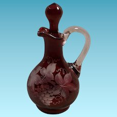 Vintage Red Cut to Clear Grape Pattern Bohemian Glass Cruet With Stopper