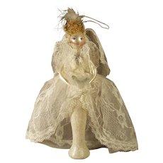 Vintage Ladies with Elegance Handpainted Mercury Glass Ornament Bride