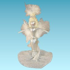 Vintage Ladies with Elegance Handpainted Mercury Glass Ornament Mermaid Gown