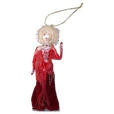 Vintage Ladies with Elegance Handpainted Mercury Glass Ornament Red Jeweled Ball Gown