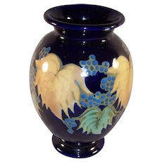 Vintage Cobalt Glazed Pottery Vase Made in Japan Berry & Leaf Motif