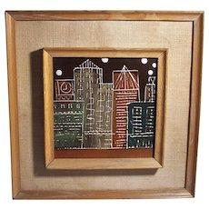 Vintage MCM Hand Painted Ceramic Tile Harris G. Strong Mid Century Modern City Skyline