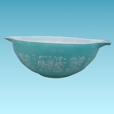 Vintage Pyrex Cinderella Mixing Bowl Amish Butter Print White on Turquoise 4 Qt Mixing Bowl #444