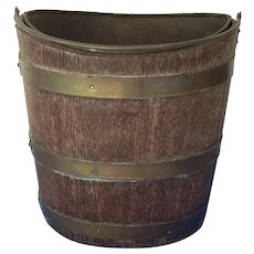 Antique Georgian Style Mahogany Irish Peat Bucket Brass Liner Brass Bands